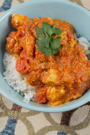 masala: Spicy tikka masala curry chicken ready to be eaten