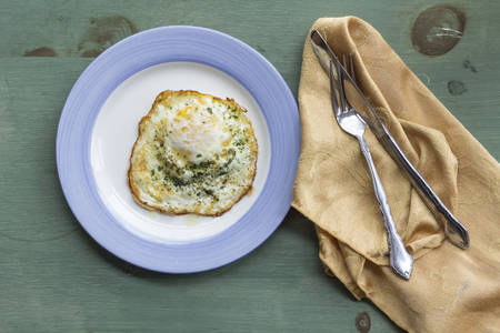 Fried runny egg over easy with salt pepper and parsley Imagens