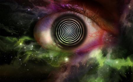 Psychedelic hypnosis swirl universe starscape optical illusion illustration Stock Illustration - 52291544