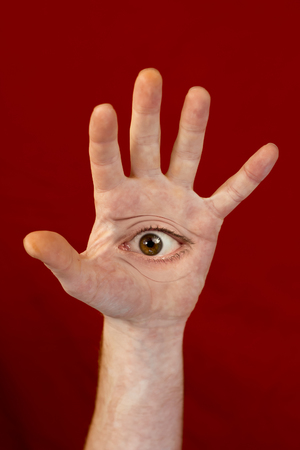 Mythological Japanese folktale monster with eyes located on palms of hands