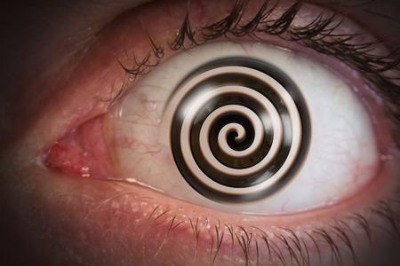 hypnosis: Psychedelic hypnosis swirl eyeball optical illusion Stock Photo