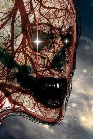 vasos sanguineos: cr�neo humano de miedo con los vasos sangu�neos y los ojos brillantes Foto de archivo