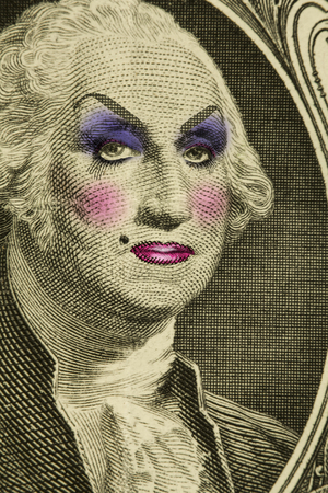 George Washington wearing women's makeup as drag queen Banque d'images