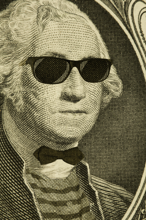 george washington: Serious hipster nerd George Washington wears sunglasses
