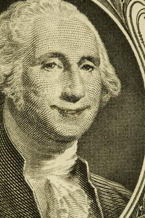 george washington: Happy President George Washington smiles on dollar bill Stock Photo