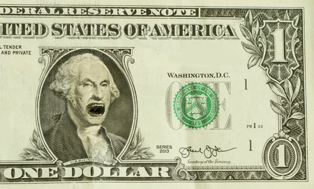 irate: Emotional yelling George Washington with incredibly angry expression Stock Photo