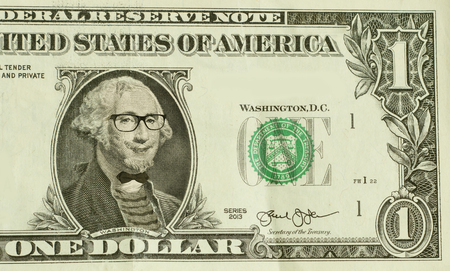 george washington: Hipster empoll�n George Washington lleva gafas y se dej� barba Foto de archivo