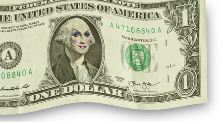 George Washington wearing women's makeup as drag queen Imagens