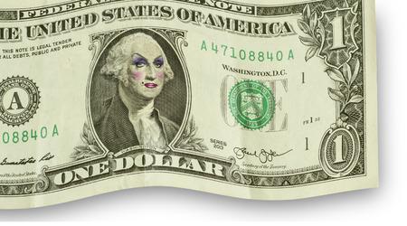 drag queen: George Washington wearing womens makeup as drag queen