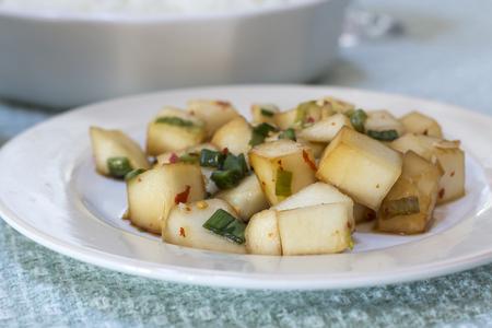 cubed: Cubed radish kimchi Kkakdugi classic korean side dish