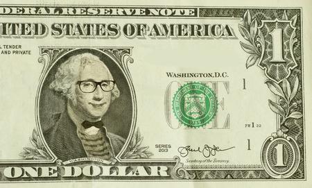 george washington: Happy hipster nerd George Washington wears glasses Stock Photo