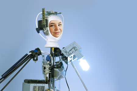 Human cyborg robot for futuristic artificial intelligence imagery Stock Photo