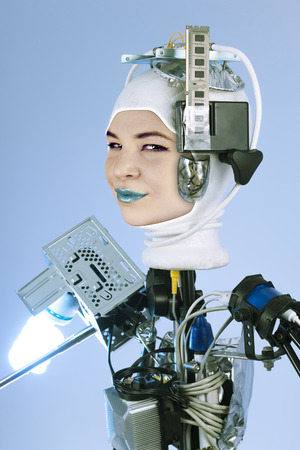 artificial intelligence: Human cyborg robot for futuristic artificial intelligence imagery Stock Photo