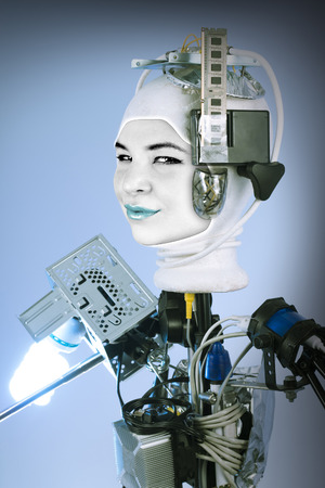 alien women: Human cyborg robot for futuristic artificial intelligence imagery Stock Photo
