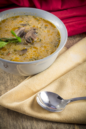 mushroom soup: Authentic rich and creamy Hungarian mushroom soup with paprika flavor