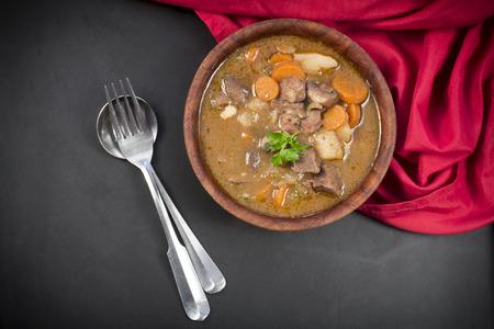 authentic: Authentic Irish beef stew with parsley garnish