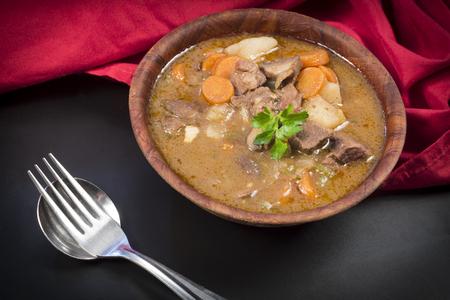 beef stew: Authentic Irish beef stew with parsley garnish