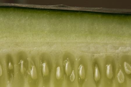 extreme macro: Extreme macro close up cucumber sliced lengthwise with seeds