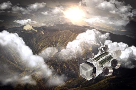 sattelite: Homemade solar powered spaceship satellite in orbit around earth