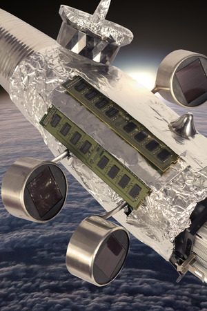 outerspace: Homemade solar powered spaceship satellite in orbit around earth