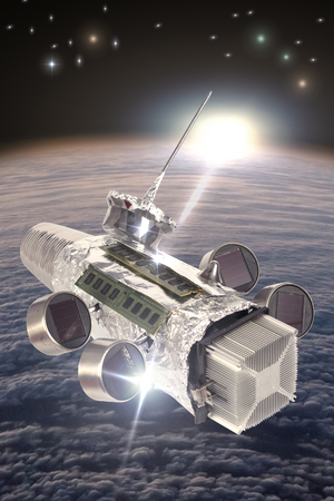 Casera satélite espacial con energía solar en órbita alrededor de la tierra