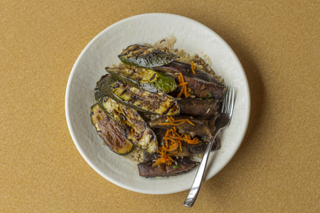 portobello: Grilled zucchini and portobello mushrooms in balsamic vinegar glaze with long grain rice