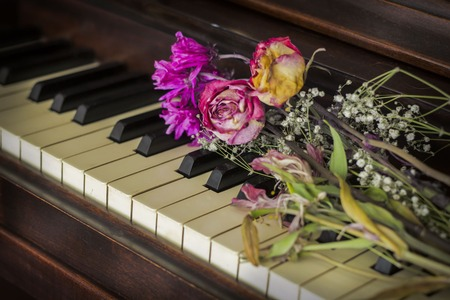 old piano: Old piano with dried roses atop the keys