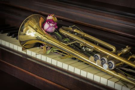 dried flowers: Old and worn Jazz trumpet and piano with dried flowers