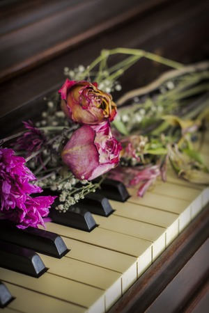 accoustic: Old piano with dried roses atop the keys
