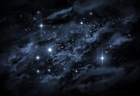 Giant universe starscape backdrop with colorful space clouds Stock Photo