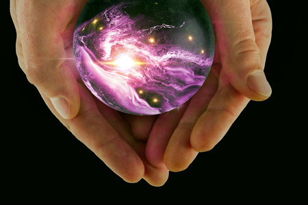 fortune teller: Holding the universe in fortune teller magic crystal ball 3D illustration