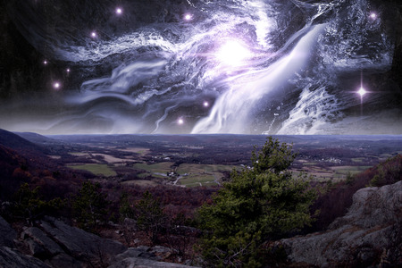 appalachian: View from top of Appalachian Mountains with ethereal starscape