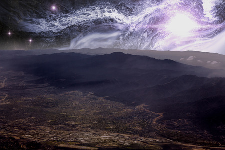 starscape: Beautiful aerial view of the rocky mountains with starscape Stock Photo