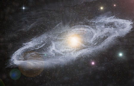 system: Giant universe starscape 3D illustration with colorful space clouds Stock Photo