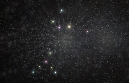 Canis major constellation 3D illustration with colorful stars Banco de Imagens