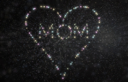 Mothers Day stars spell word Mom and heart shape in 3D Illustration