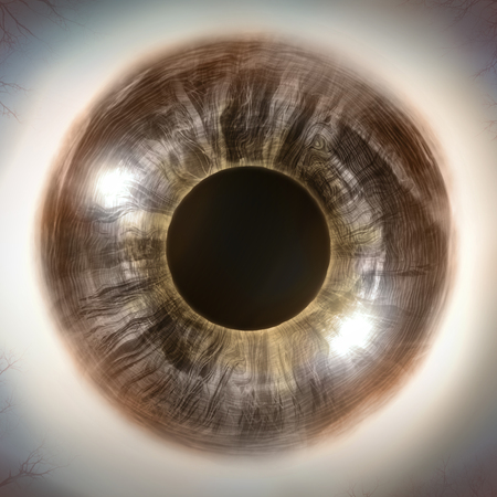 extreme close up: Macro extreme close up human eyeball background, 3D Illustration