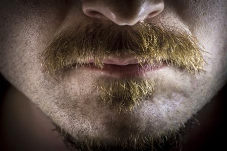 Close up macro dramatic serious mustache and facial hair Stock fotó