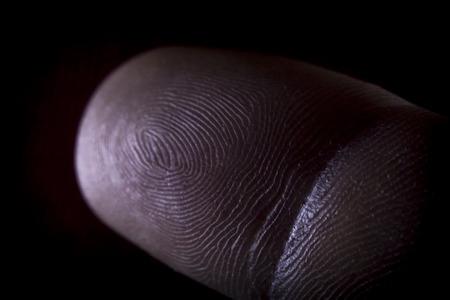 지문 인간의 포인터 손가락 매크로 닫습니다