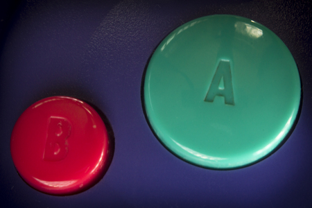 game controller: Macro extreme close up video game controller buttons