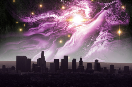 Beautiful starscape and Los Angeles skyline night landscape