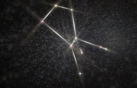 Orion illustrazione greco cacciatore costellazione 3D con stelle colorate Archivio Fotografico