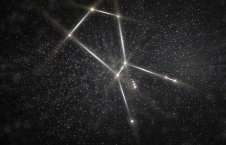 Orion greek hunter constellation 3D illustration with colorful stars