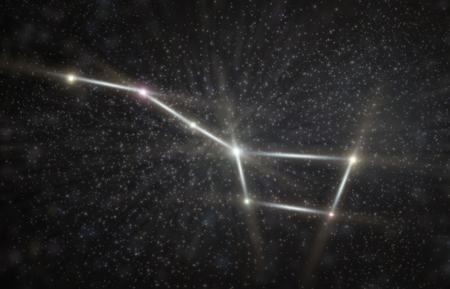 Big dipper constellation 3D illustration with colorful stars