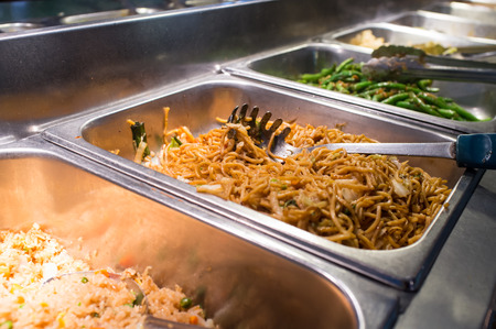 Chinese food Lo mein buffet self service lunch or dinner Stock Photo