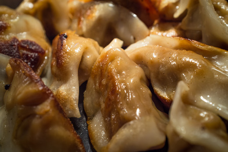 potstickers: Buffet tray of fried Asian potsticker pork dumplings Stock Photo