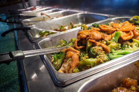 cafeteria tray: Chinese food buffet self service lunch or dinner