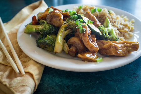 fried rice: Buddhas delight vegetarian chinese food dish with fried bean curd Stock Photo