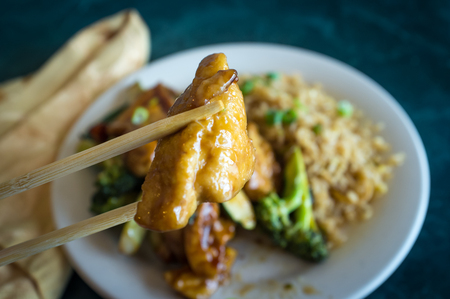 bean curd: Buddhas delight vegetarian chinese food dish with fried bean curd Stock Photo