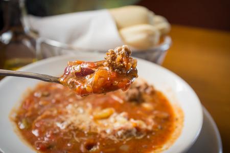favorite soup: Everyones favorite Italian bean soup, pasta fagioli Stock Photo